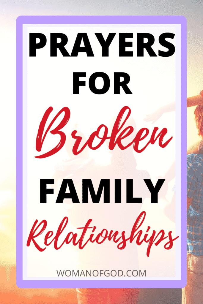 prayers for broken family relationships pin