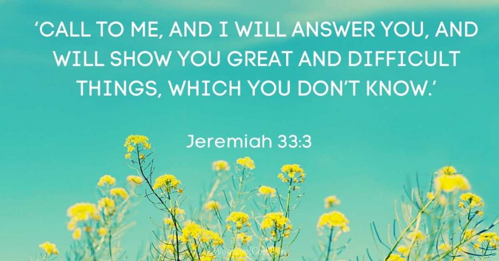 Verse of the Day Jeremiah 33:3